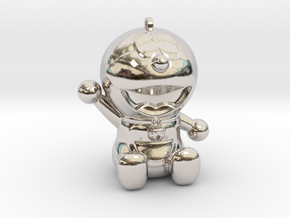 Doraemon 3D KeyChain & Pencil Cover in Rhodium Plated Brass
