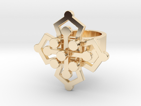 Geo Floral ring size 5 in 14k Gold Plated Brass