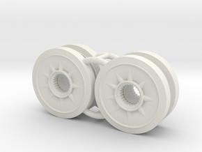 Two 1/16 Pz IV Spare Wheels in White Strong & Flexible
