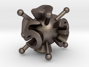 6-sided Die in Polished Bronzed Silver Steel