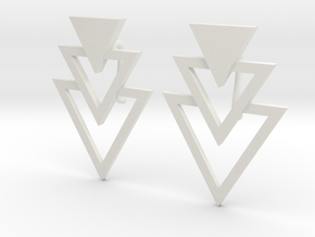 Earring Triangles in White Natural Versatile Plastic