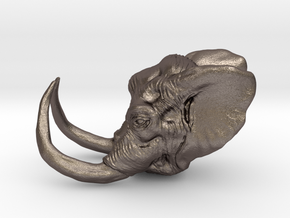 Elephant Ring Size 7 in Polished Bronzed Silver Steel