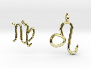 Leo&Virgo Zadiac's 2pendants in 18k Gold Plated Brass