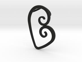 Swirl Heart Pendant - Original Reproduction in Black Natural Versatile Plastic