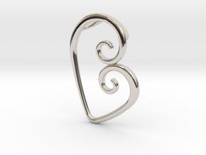 Swirl Heart Pendant - Original Reproduction in Rhodium Plated Brass