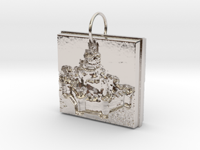 Enchanted Storybook Castles Pendant in Rhodium Plated Brass