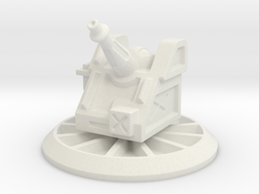 6mm Scale Artillery Gun Turret in White Strong & Flexible