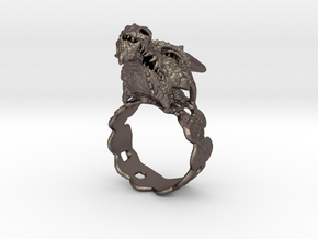 Dragon Ring in Polished Bronzed Silver Steel
