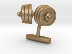 Dumbbell Weights Cufflinks in Matte Gold Steel
