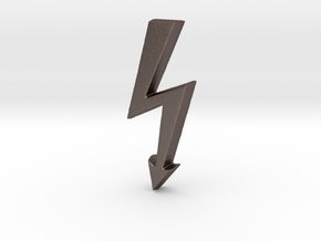 Electrical Hazard Lightning Bolt  in Polished Bronzed Silver Steel