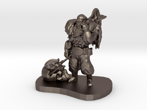 Barbarian Warrior Figurine in Polished Bronzed Silver Steel