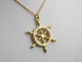 Nautical Steering Wheel Pendant in 18k Gold Plated Brass