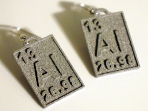 Aluminum Periodic Table Earrings in Polished Metallic Plastic