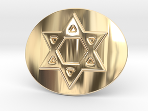 Star Of David Belt Buckle in 14K Yellow Gold