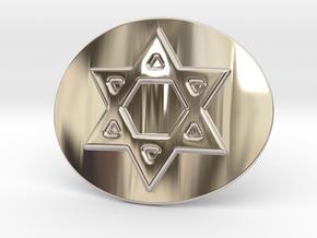 Star Of David Belt Buckle in Rhodium Plated Brass