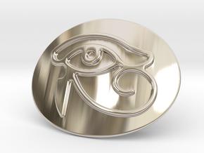 Eye Of Horus Belt Buckle in Rhodium Plated Brass
