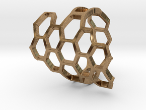 HoneyComb Ring2 in Natural Brass