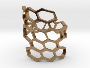 HoneyComb Ring4 in Natural Brass