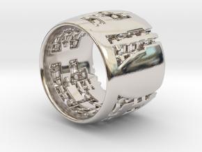 Menger Matrix Turbine Ring 21mm in Rhodium Plated Brass