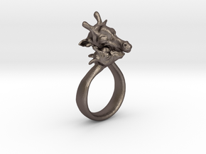 Giraffe Ring Size 7 in Polished Bronzed Silver Steel
