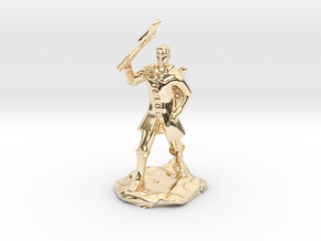 Human Ranger With Axe in 14k Gold Plated Brass