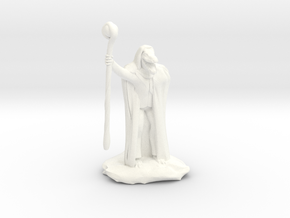 Kobold Warlock In Cloak With Staff  in White Processed Versatile Plastic