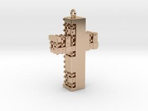 Matrix Crucifix Pendant in 14k Rose Gold