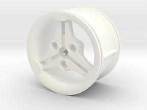 3-spoke Racing Wheel Medium High Offset in White Processed Versatile Plastic