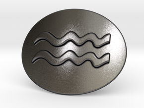 Acquarius Belt Buckle in Polished and Bronzed Black Steel