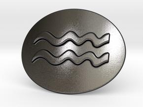 Acquarius Belt Buckle in Polished Grey Steel