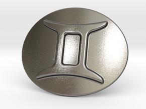 Gemini Belt Buckle in Polished Nickel Steel