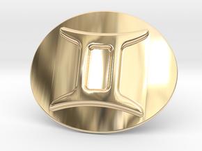 Gemini Belt Buckle in 14k Gold Plated Brass
