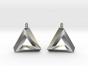 Penrose Triangle - Earrings (17mm | 1x mirrored) in Natural Silver