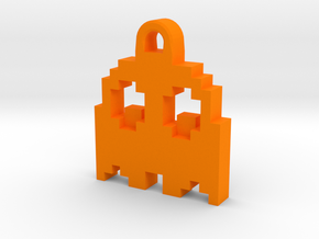 Pac Man Ghost 8-bit Earring 2 (looks down | moving in Orange Processed Versatile Plastic