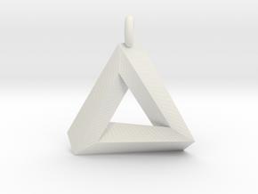 Penrose Triangle - Pendant (3.5cm   3.5mm O-Ring) in White Natural Versatile Plastic