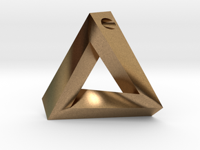 Penrose Triangle - Pendant (3.5cm | 3mm hole) in Natural Brass