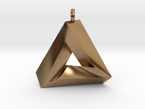 Penrose Triangle - Pendant (3cm | 2.5mm O-Ring) in Natural Brass