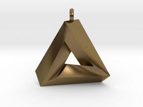 Penrose Triangle - Pendant (3cm | 2.5mm O-Ring) in Natural Bronze