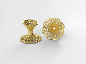 Diagrid Cufflinks - Octagon in 18k Gold Plated