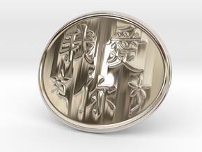 Wo Ai Ni Belt Buckle in Rhodium Plated Brass