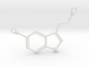 Serotonin Necklace Pednant in White Natural Versatile Plastic