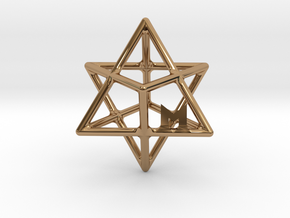 MILOSAURUS Tetrahedral 3D Star of David Pendant in Polished Brass