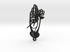 Hand with flower modern Hamsa  in Black Natural Versatile Plastic