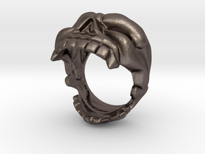Skull bottle opener Ring Size 10 in Polished Bronzed Silver Steel