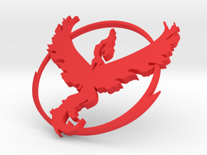 PokemonGo Team Valor Car Badge Emblem in Red Processed Versatile Plastic