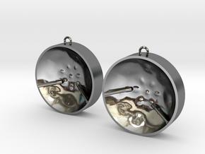 """Double Tenor """"damntingself"""" earrings, L in Fine Detail Polished Silver"""