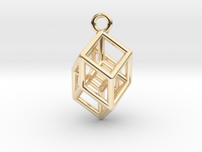 Hypercube Tesseract Pendant in 14k Gold Plated Brass