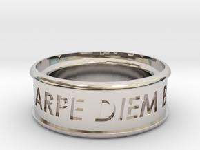 Carpe Diem Ring 5 Inch Diameter in Rhodium Plated Brass