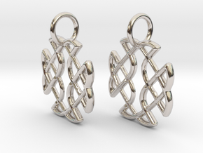 Celtic Square Cross earrings in Rhodium Plated Brass