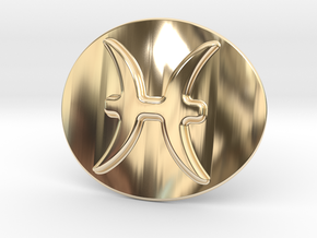 Pisces Belt Buckle in 14k Gold Plated Brass